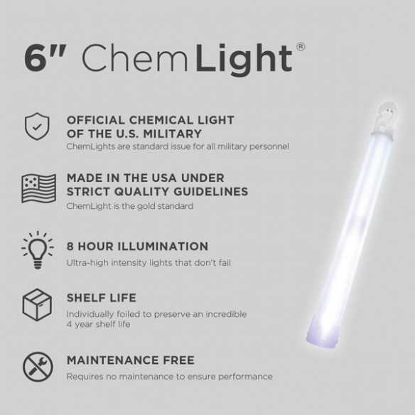 Cyalume ChemLight White 8H