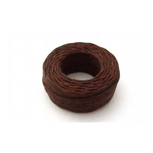 Brown linen thread 22 m - Filo cerato marrone