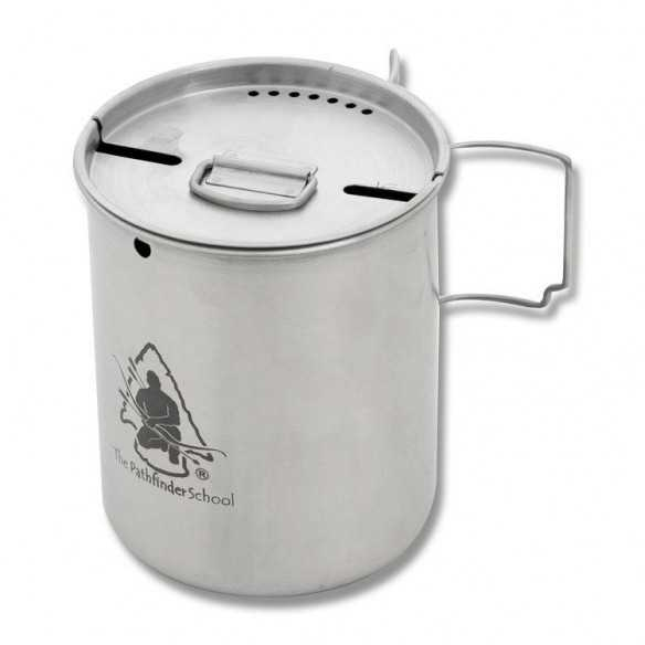 The Pathfinder School Stainless Steel 25 oz Cup with stove