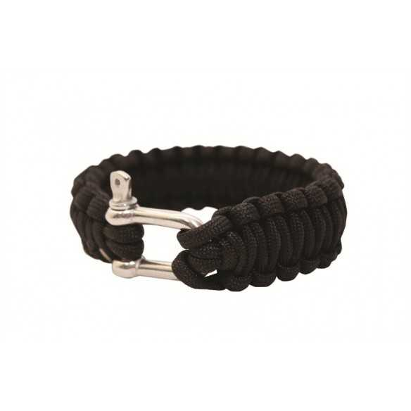 "BCB 9"" PARACORD BRACELET - BLACK - WITH METAL CLOSURE"
