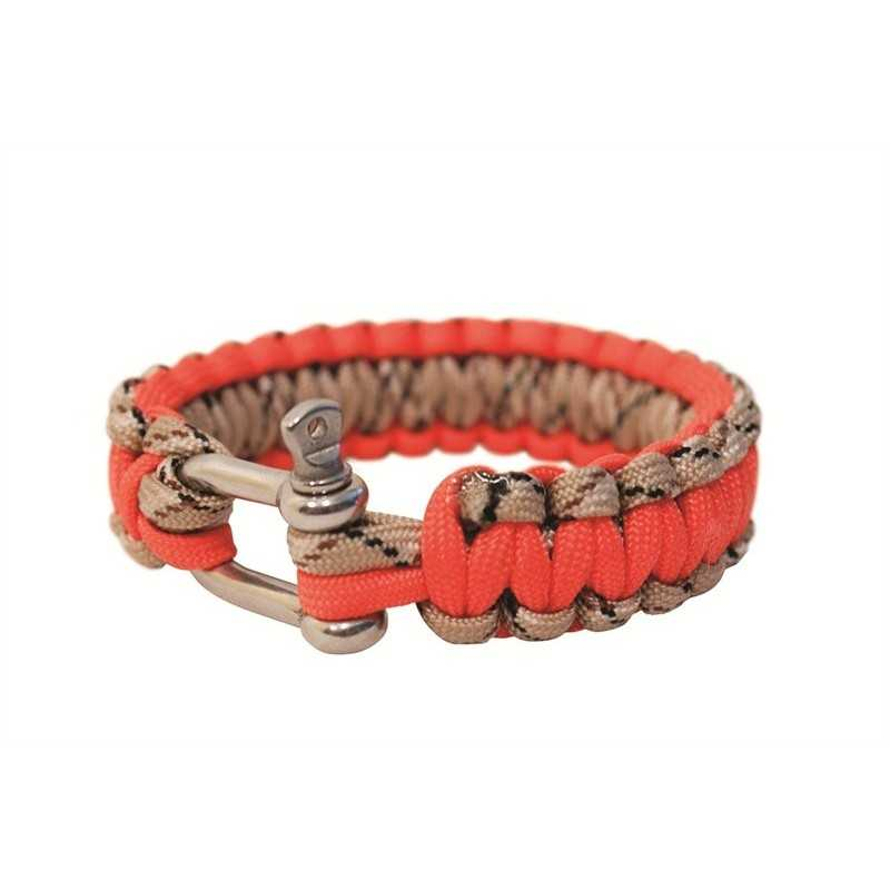 "BCB 9"" PARACORD BRACELET - ORANGE/TAN MIX - WITH METAL CLOSURE"