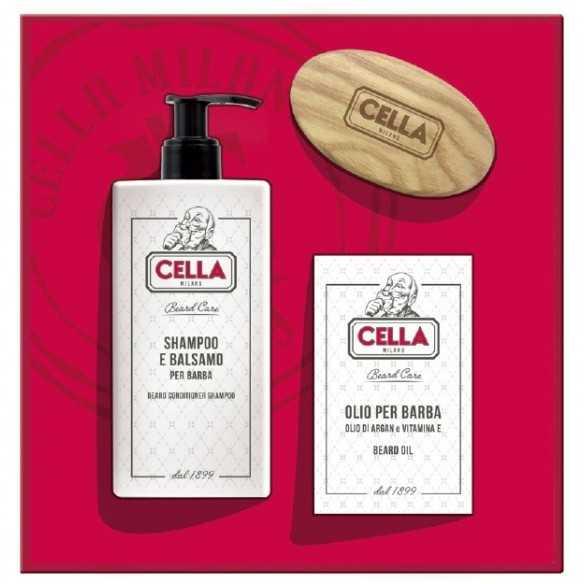 Cella Set Cura Barba Shampoo Olio e Spazzola